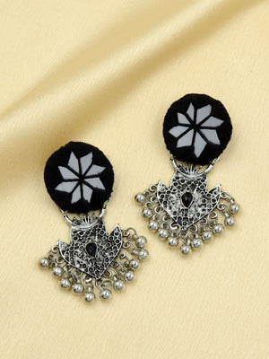 Rihana Hand-embroidered Mirror Earrings