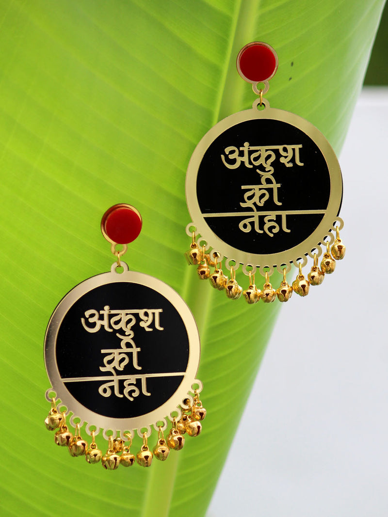 Customised Earrings (with Ghungroo), our fully customisable and personalized range of statement, gota work, hand embroidered, bohemian and tassel earrings for women online.