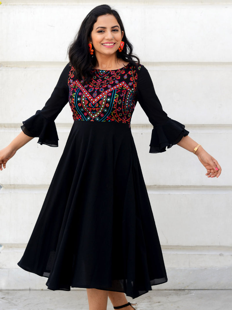 Misha Embroidered Dress, a hand embroidered ultra chic dress from our latest designer collection of boho and ethnic dresses for women online.