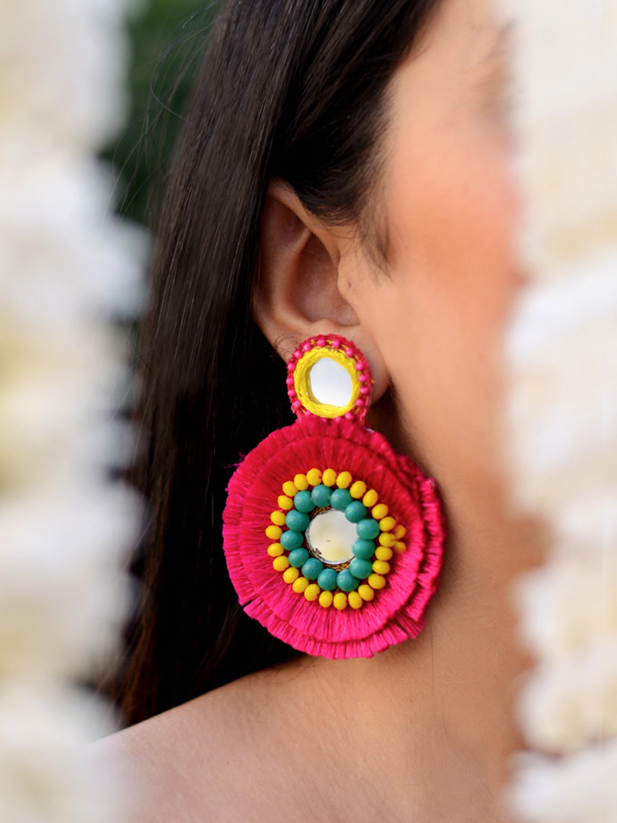 Priyanka Hand-embroidered Mirror Earrings, an embroidered mirror earring from our designer wedding collection of earrings for women online.