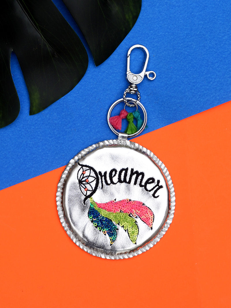 Dreamer Embroidered Keychain Bagcharm, a unique handcrafted keychain bag charm from our designer collection of hand embroidered statement keychain and bag charms online.