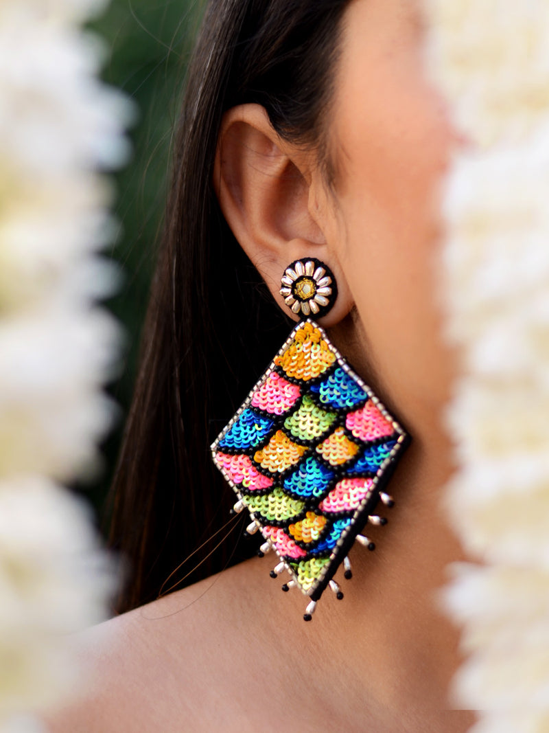 Anushka Sequin Hand made Earrings, a contemporary handcrafted earring from our wedding collection of Kundan, gota patti, pearl earrings for women online.