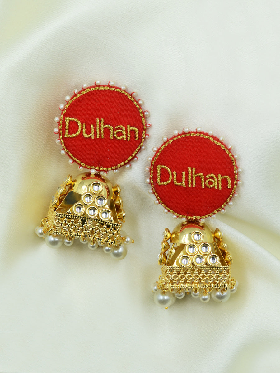 Dulhan Embroidered Kundan Jhumkas