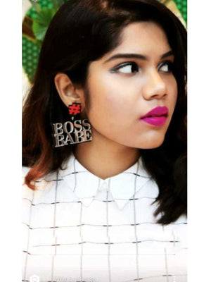 Boss Babe Earrings, a quirky, unique, statement party-wear earrings from our designer collection of earrings for women.