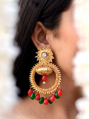Bebo Gota Earrings, a contemporary handcrafted earring from our wedding collection of Kundan, gota patti, pearl earrings for women online.