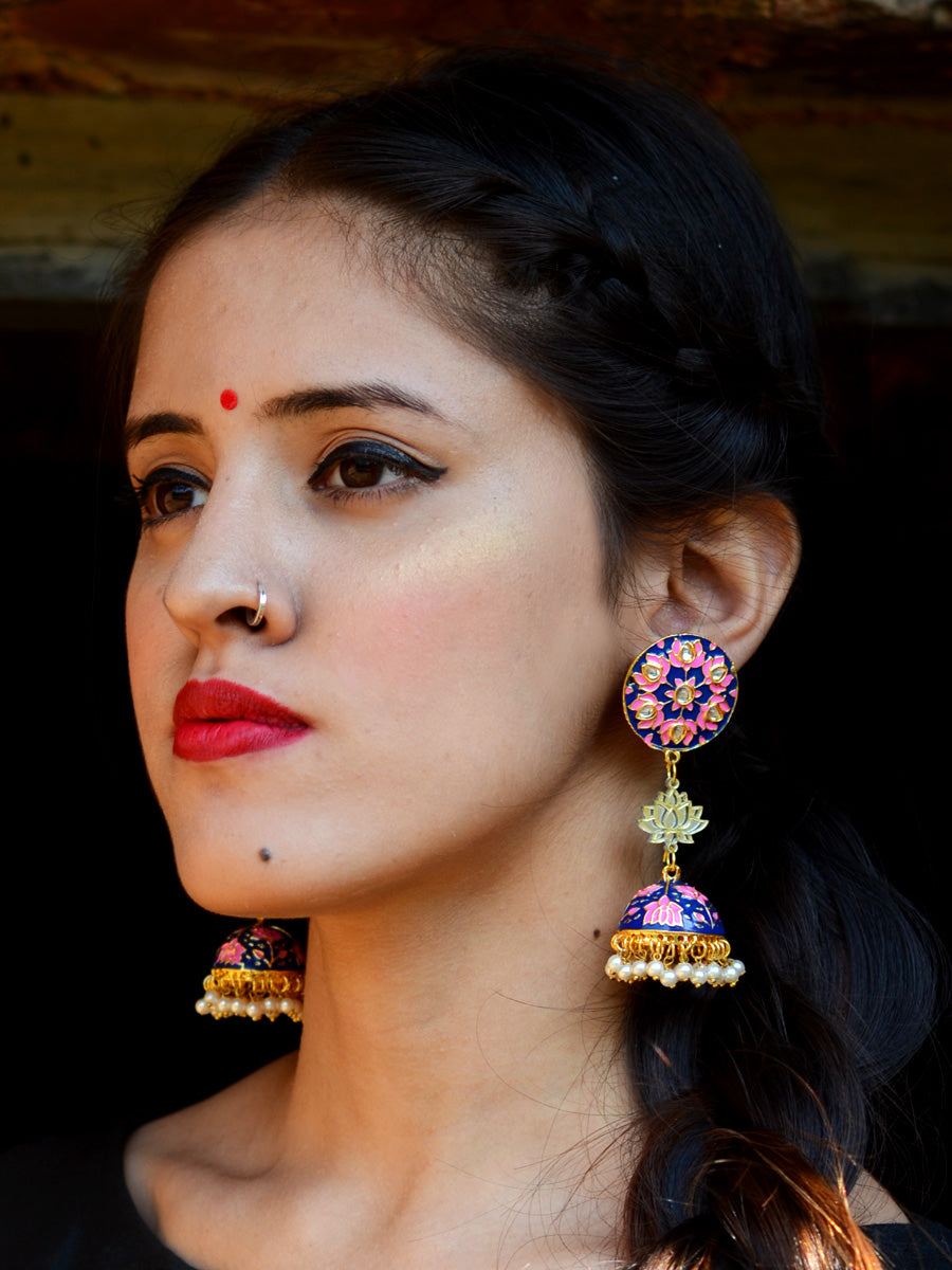Sharmila Lotus Earrings, a contemporary handcrafted earring from our wedding collection of Kundan, gota patti, pearl earrings for women online.