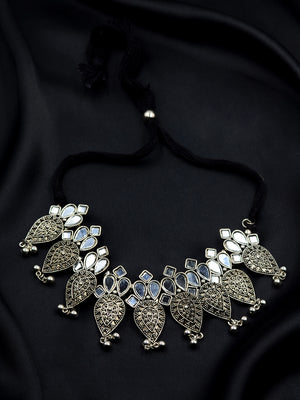 Bhairavi Silver Ghungoo Mirror Necklace