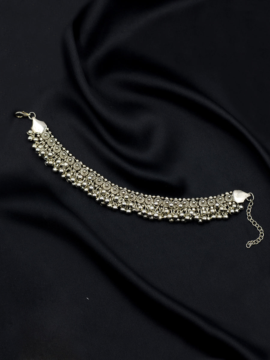 Gehna Silver Ghungroo Anklet