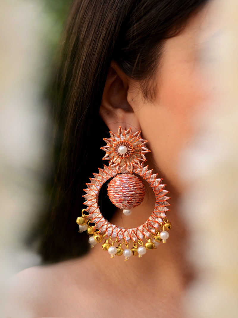 Karisma Gota-patti Earrings, a contemporary handcrafted earring from our wedding collection of Kundan, gota patti, pearl earrings for women online.