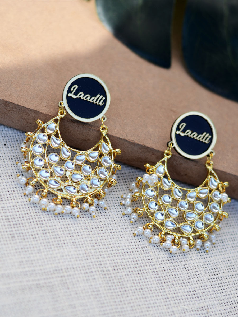 Customised Earrings (Kudi Pataka Kundan Style), completely customisable and personalised statement hand embroidered earrings from our latest wedding collection of statement and kundan earrings for women online.