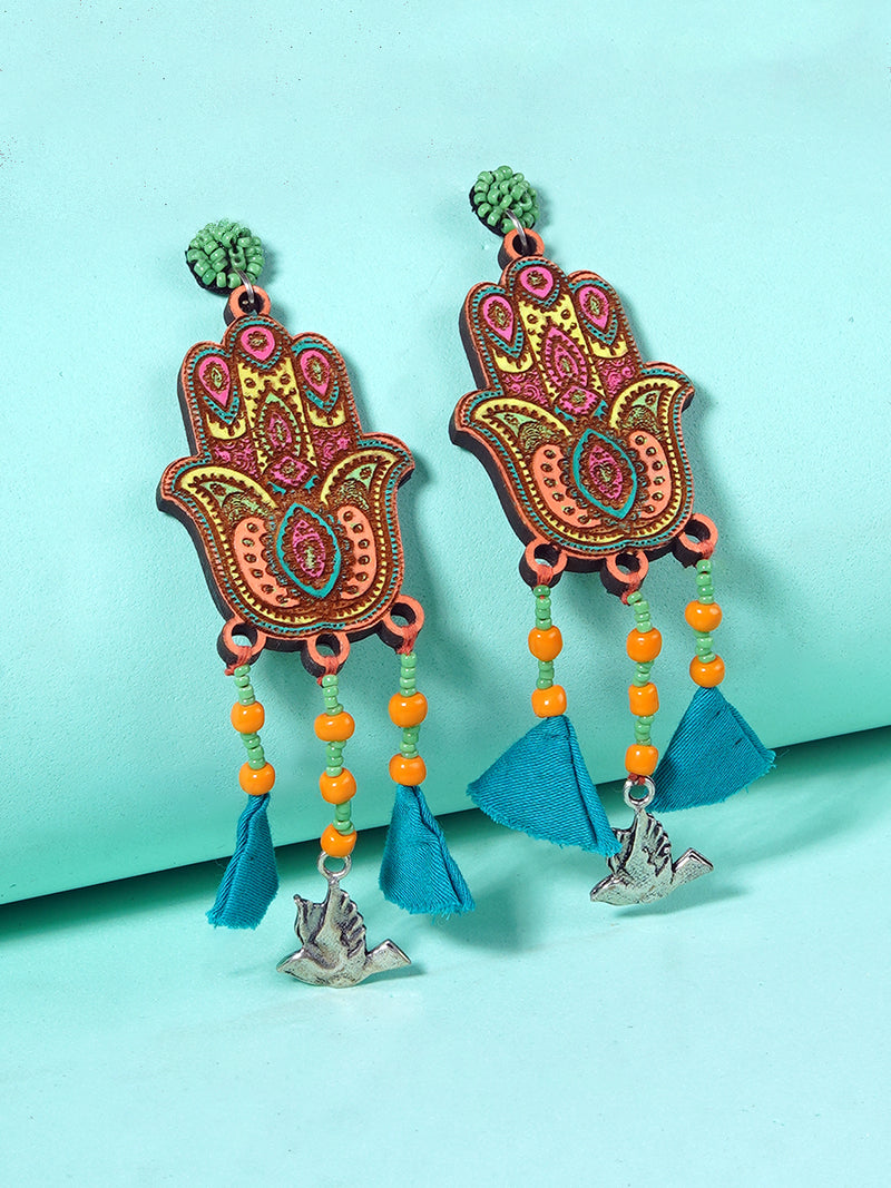 Fatima Handpainted Tassel Earrings