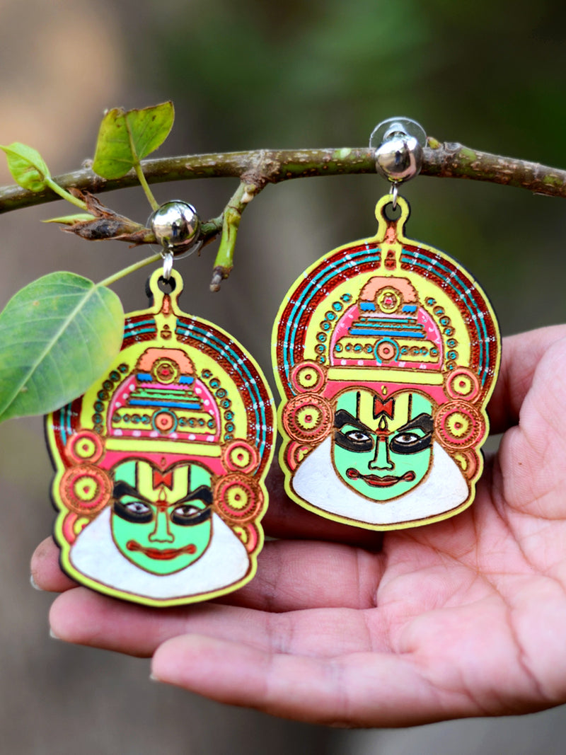 Kathakali Earrings, a hand painted kathakali designer earring with ghungroos from our designer collection of hand embroidered earrings for women.