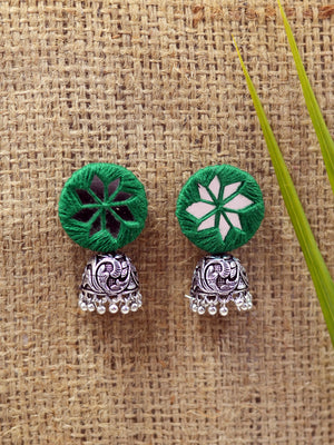 Mahira hand embroidered Jhumka, a beautifully hand-embroidered earring jhumka from our designer collection of quirky, boho, Kundan and tassel earrings and jhumkas for women online.