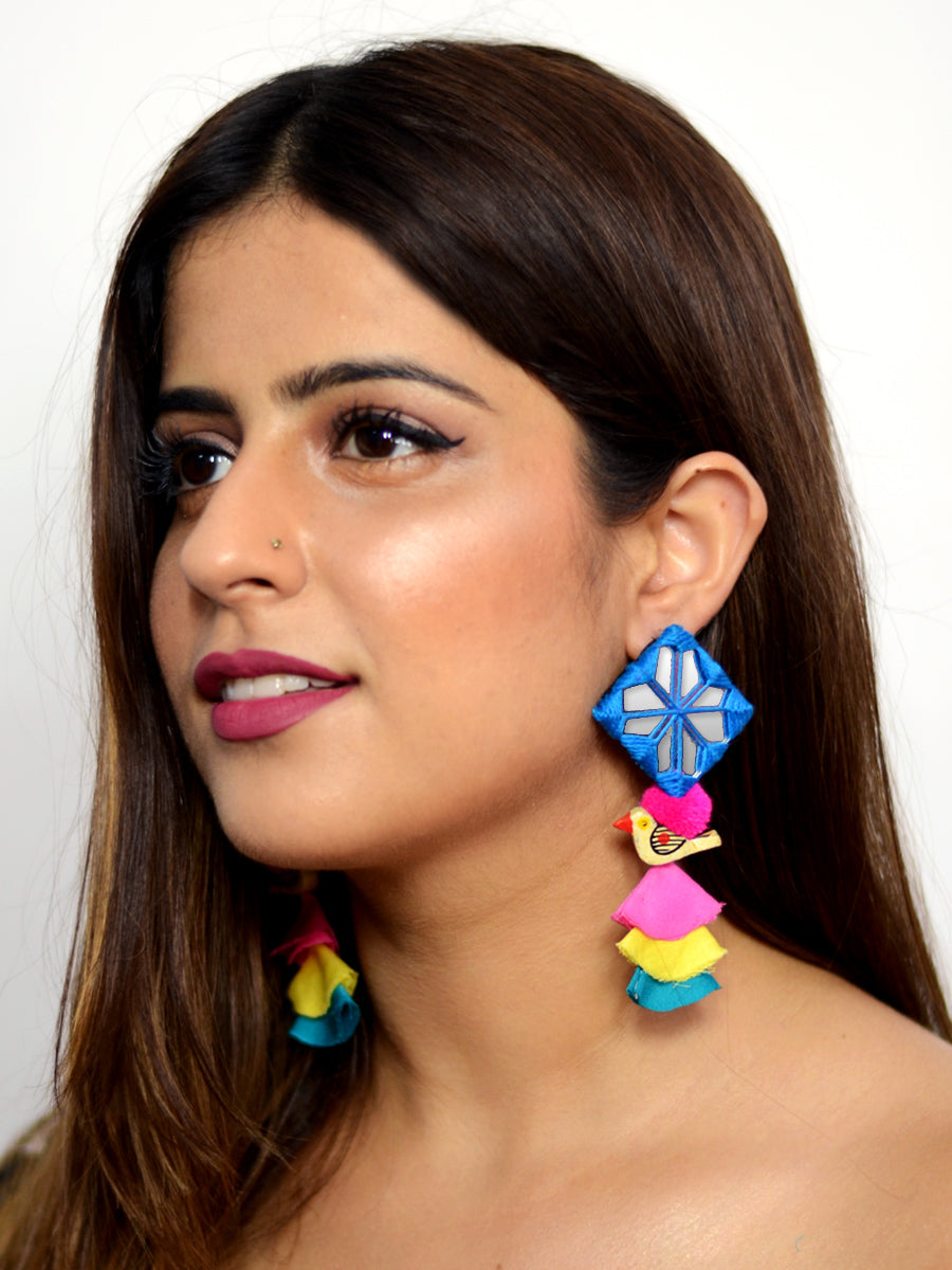 Abida Pom Hand Embroidered Earrings, an embroidered earring with pom pom from our designer collection of earrings for women.