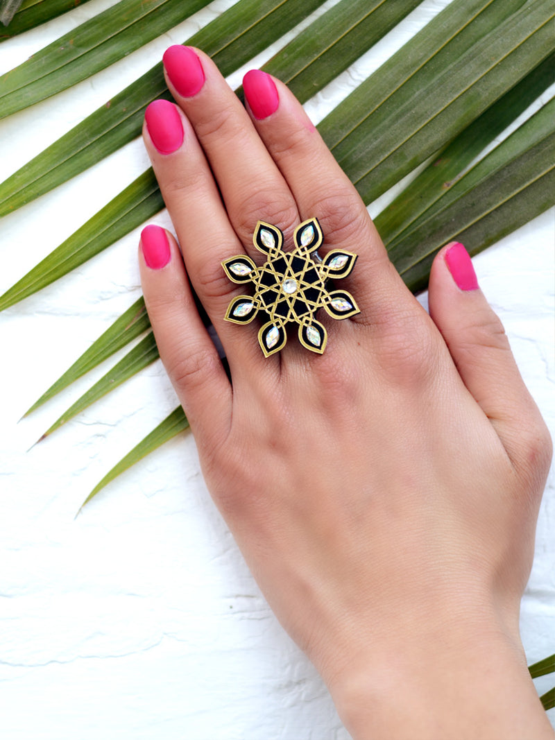 Akshara Ring for girls, a hand embroidered ring with rhinestone detailing from our quirky, designer collection of rings for women online.