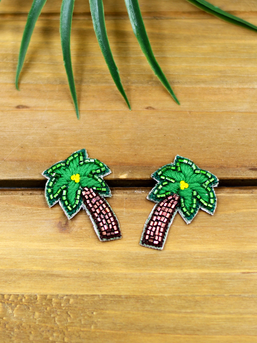 Tropical Embroidered Earrings, a beautifully hand-embroidered earring from our designer collection of quirky, boho, statement, Kundan and tassel earrings for women.
