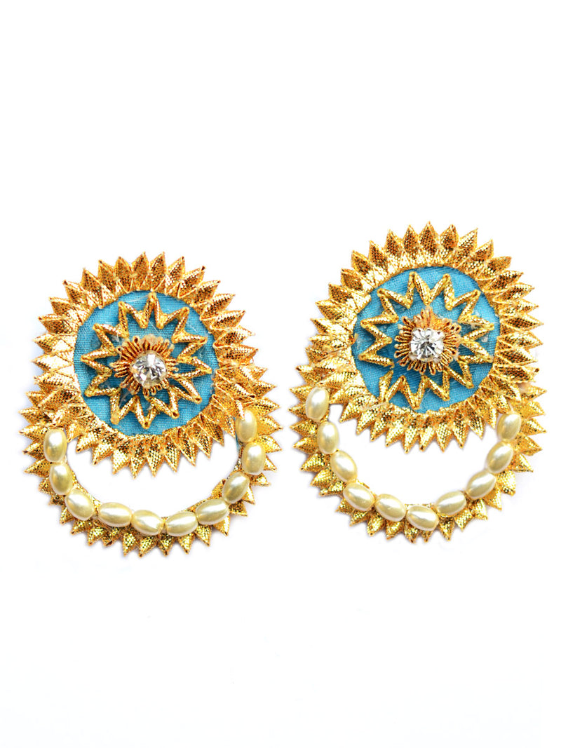 Gota Shine Earrings, a beautiful gota patti work earring with bead and stone detailing from our festive collection of earrings for women online.