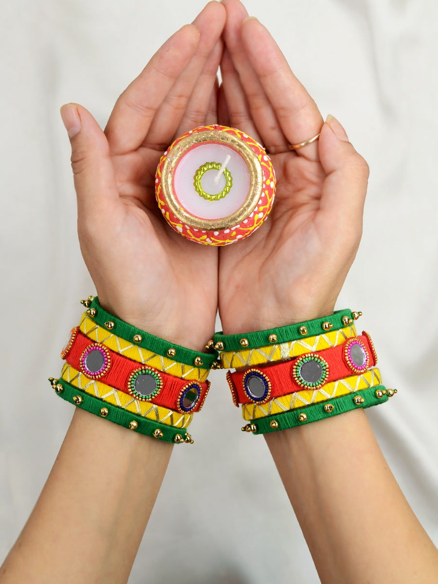 Festive Mirror Bangles, a designer handcrafted bangle from our latest hand embroidered collection of bangles for women.