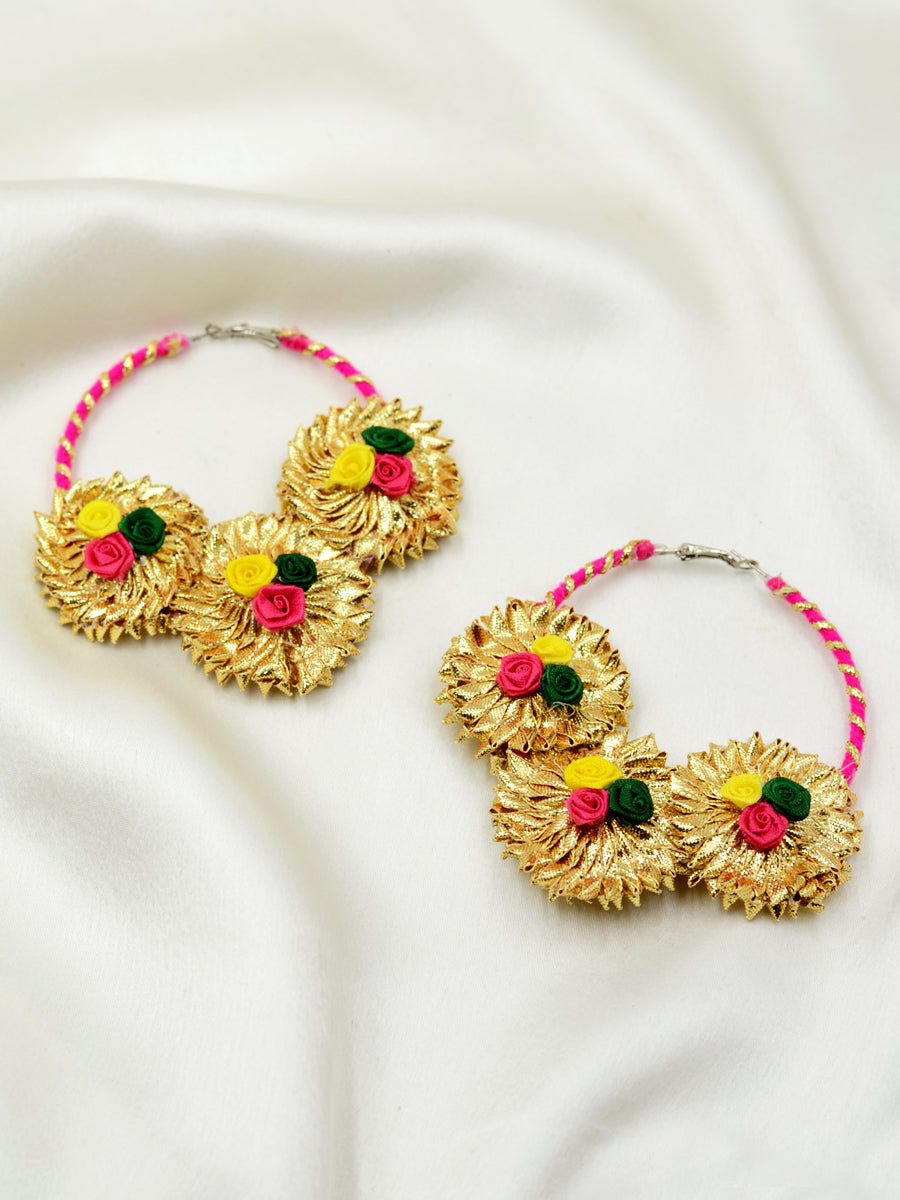 Gota Flora Earrings, a unique, ethnic Indian gota hoop earring with floral detailing from our designer collection of earrings for women online.