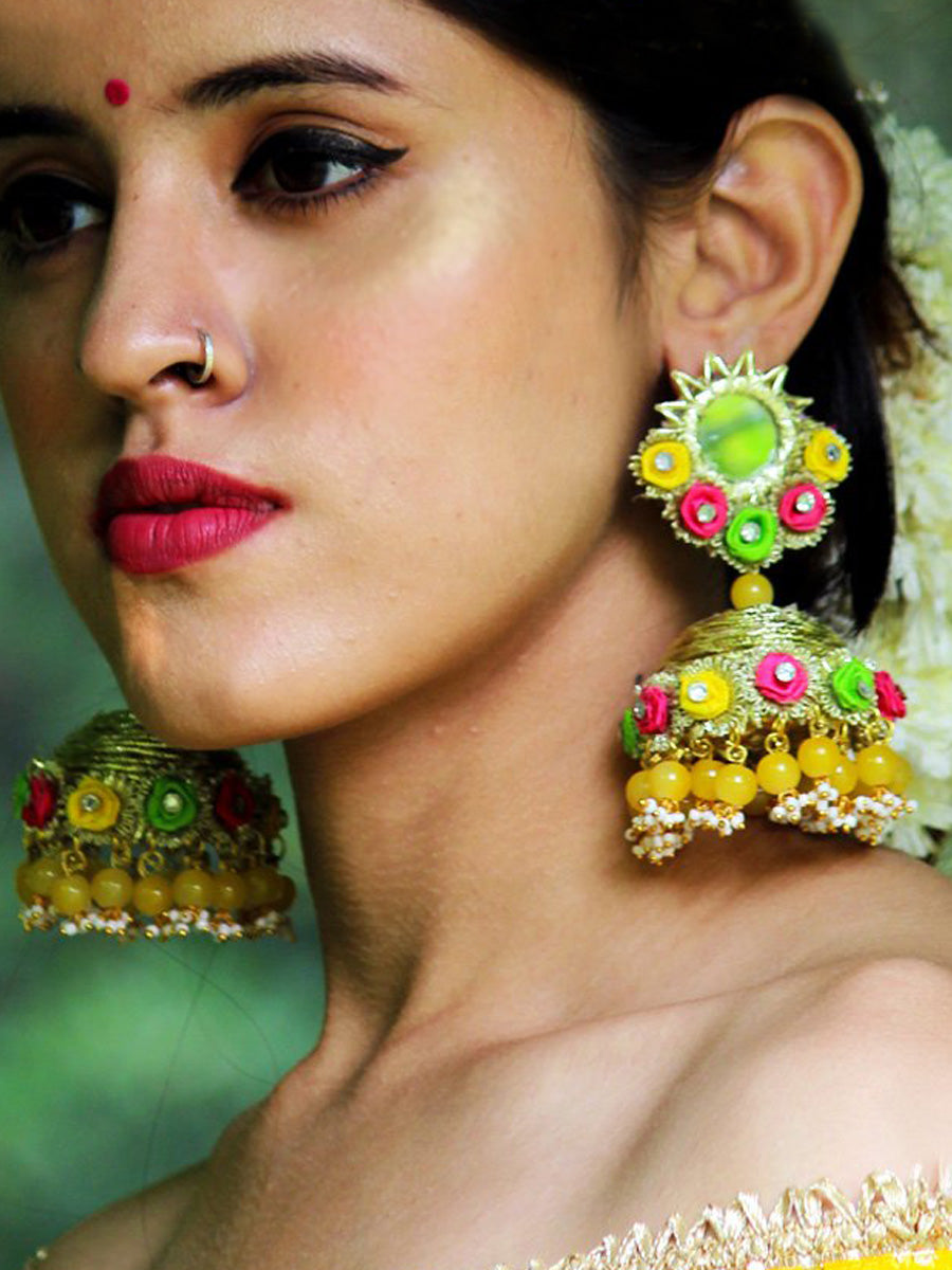 Aishwarya Earrings, a contemporary handcrafted earring from our wedding collection of Kundan, gota patti, pearl earrings for women.