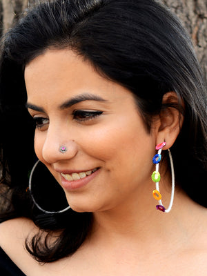 Rangeeli Baalis Hoop Earrings, a unique, ethnic Indian hoop earring from our designer hand embroidered collection of earrings for women.