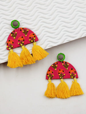 Haseena Hand-embroidered Tassel Earrings