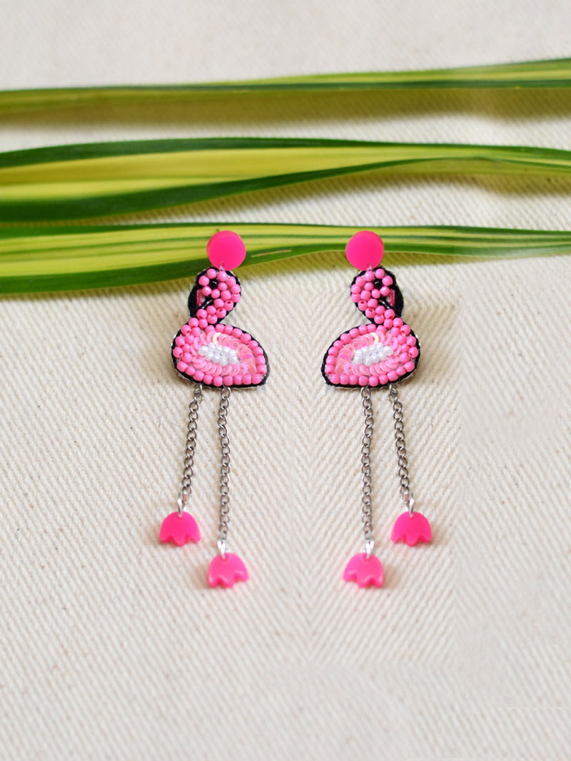 Flamingo Bead Earrings, a handcrafted earring with beads from our designer hand embroidered collection of earrings for women.