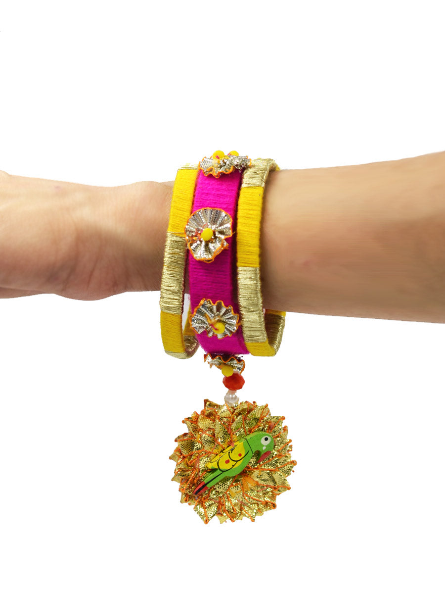 Parrot Charm Gota Bangles, beautifully handmade gota bangles with bead and parrot detailing from our latest collection of wedding themed bangles for women.