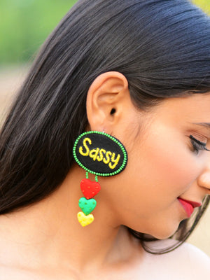 Sassy Embroidered Earrings, an embroidered earring with beads from our quirky designer collection of earrings for women online.