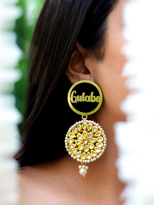 Gulabo Kundan Pearl Earrings