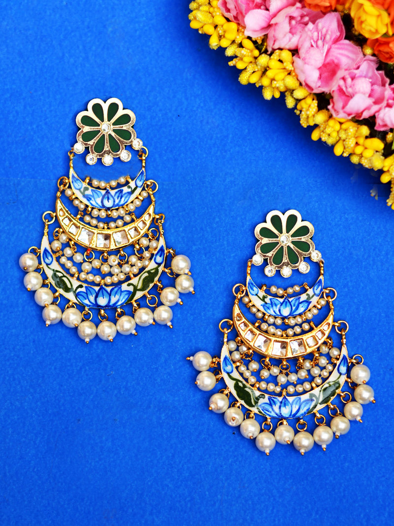 Soha Kundan Earrings, a contemporary handcrafted earring from our wedding collection of Kundan, gota patti, pearl earrings for women.