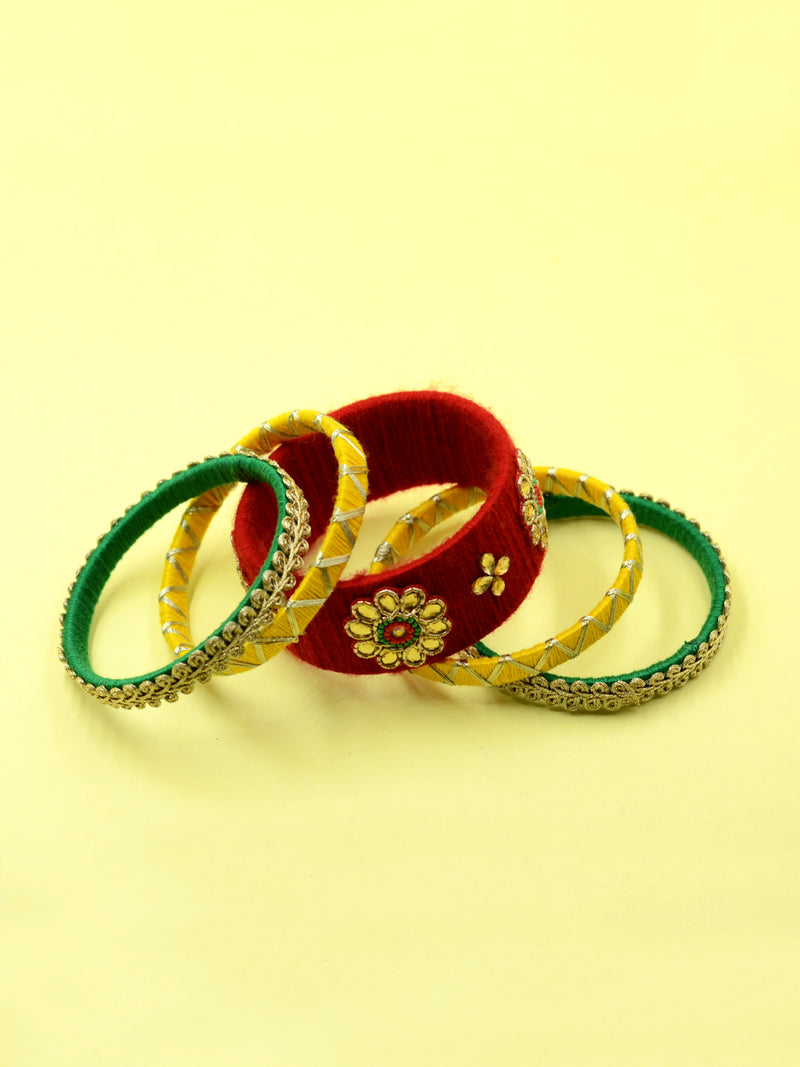Din Shagna Kundan Bangles, a designer, handcrafted bangle from our latest collection of kundan hand embroidered bangles for women.