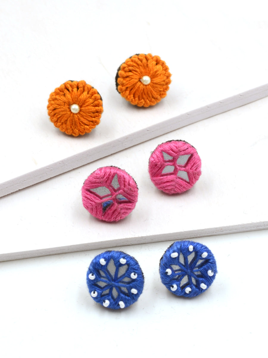 Arya Embroidered Stud Earrings Set 2