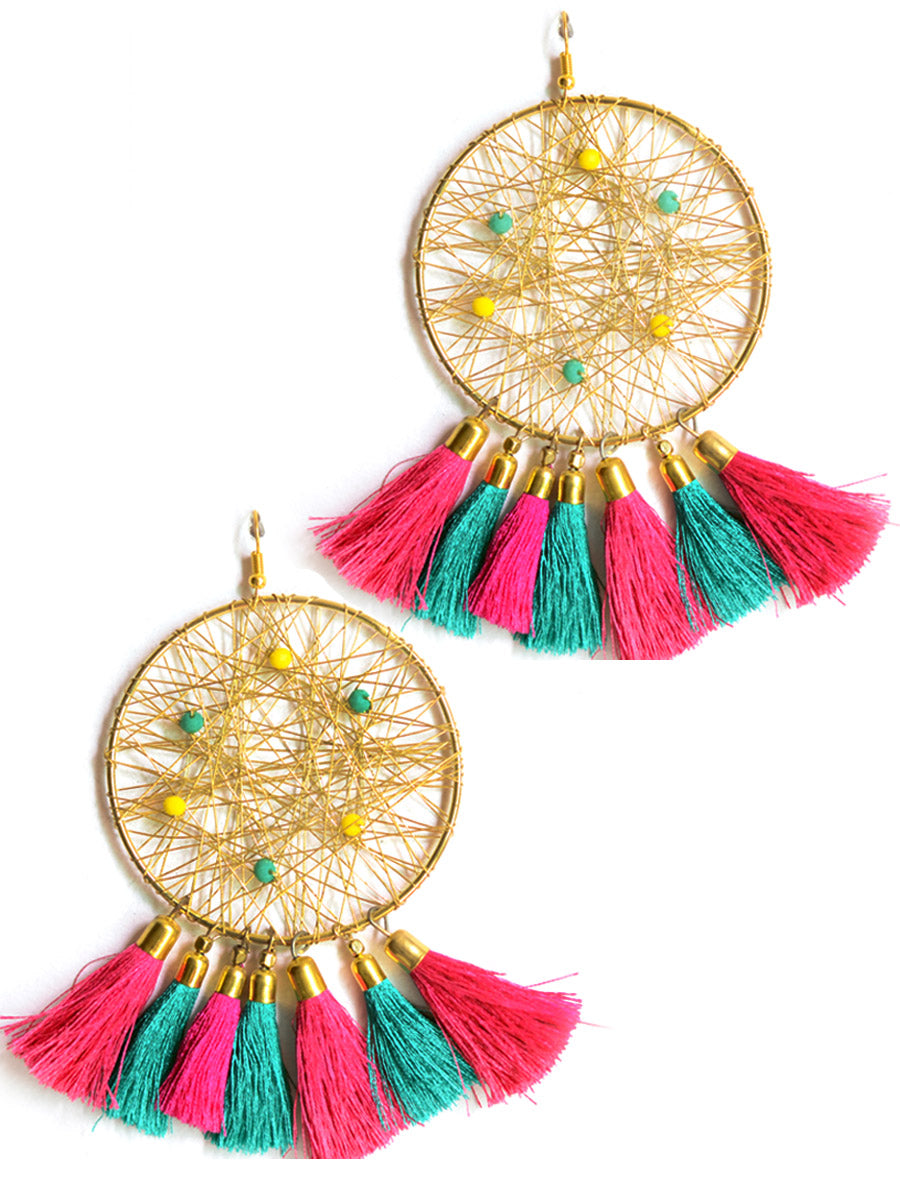Tassel Carnival Earrings, a beautiful handmade hand embroidered earring with bead and tassel from our designer collection of earrings for women online.