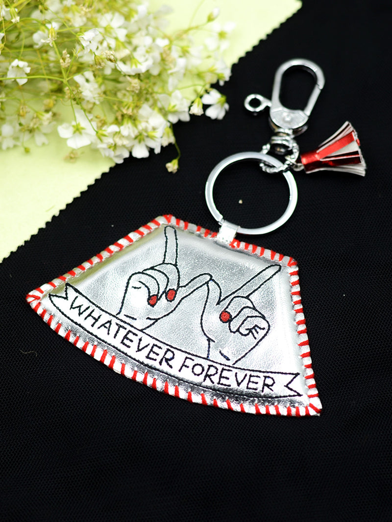 Whatever Forever Keychain Bagcharm, a unique handcrafted keychain bag charm from our designer collection of hand embroidered keychain and bag charms online.