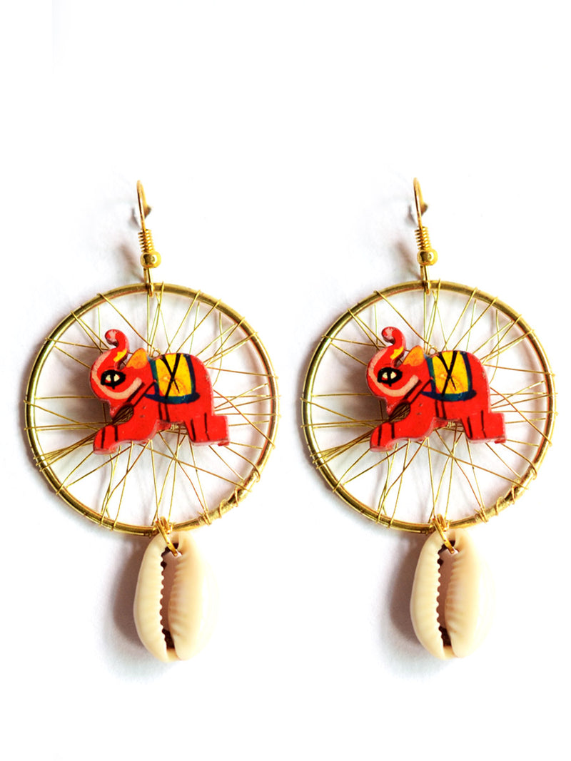 Elephant shell Earrings, a chic hand embroidered shell earrings from our quirky designer collection of earrings for women online.