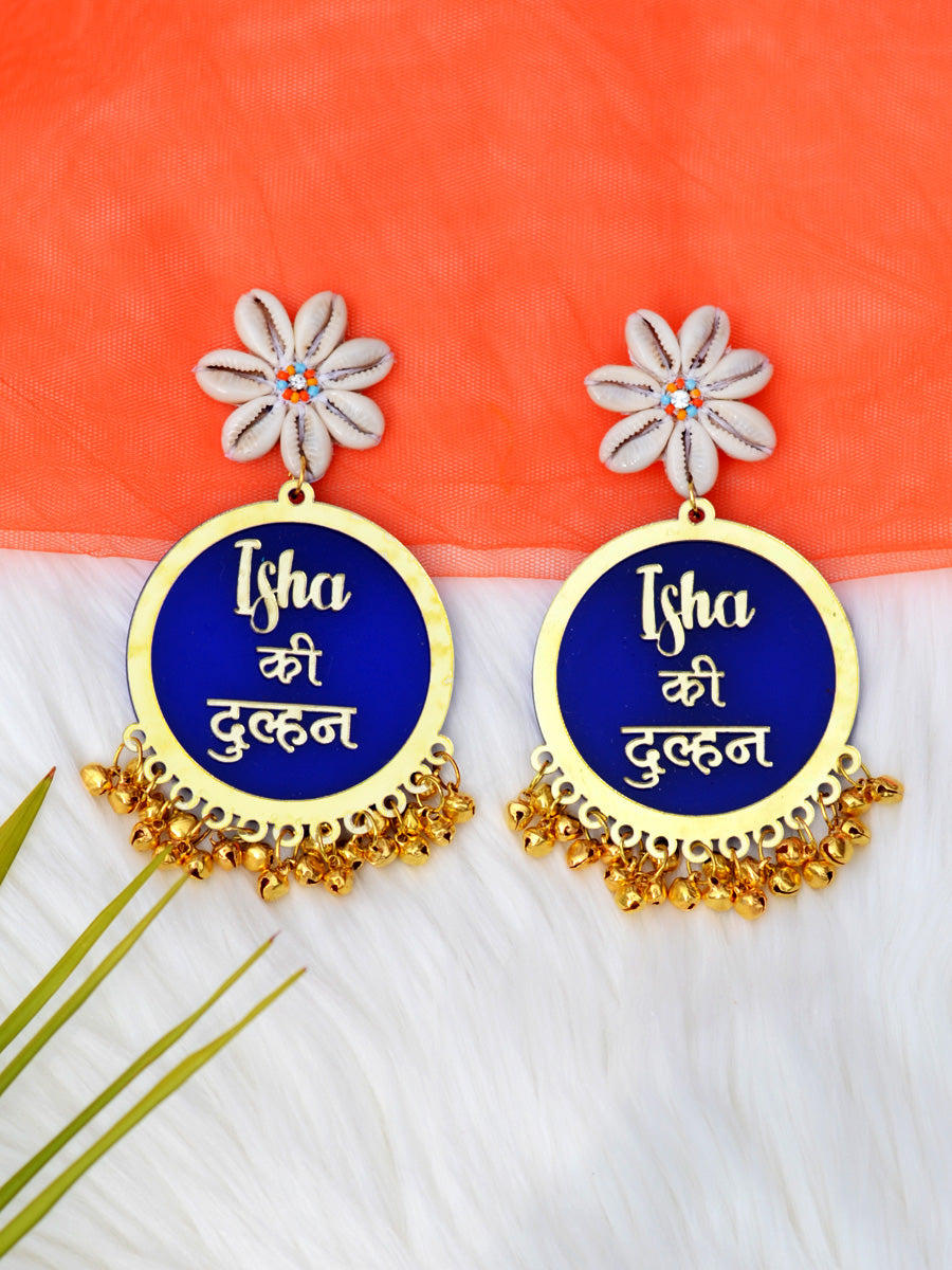 Customised Earrings (with Shell flower & Ghungroo), completely customisable and personalised statement hand embroidered earrings from our latest wedding collection of statement and handmade earrings for women online.