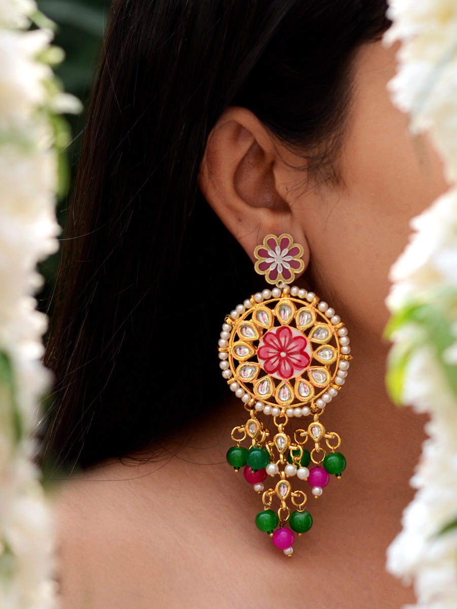 Gulbahar Floral Kundan Earrings, a hand embroidered kundan earring from our designer collection of kundan, gota patti and tassel earrings for women online.