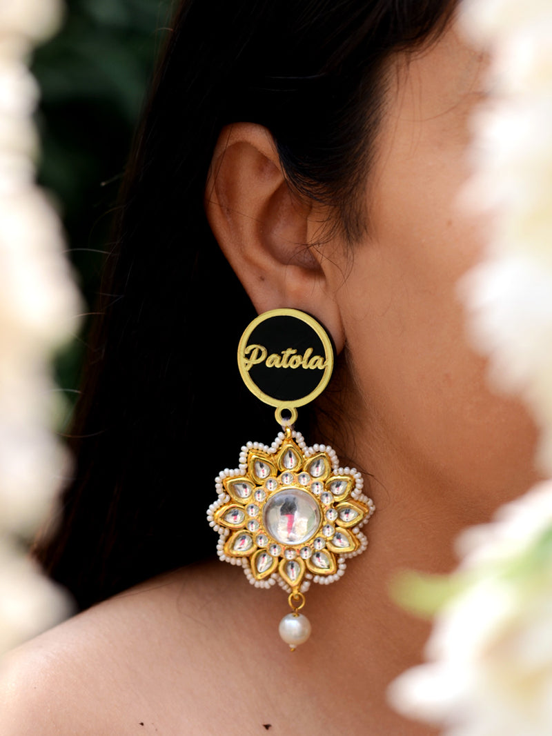 Patola Kundan Pearl Earrings, a contemporary handcrafted earring from our wedding collection of Kundan, gota patti, pearl earrings for women.