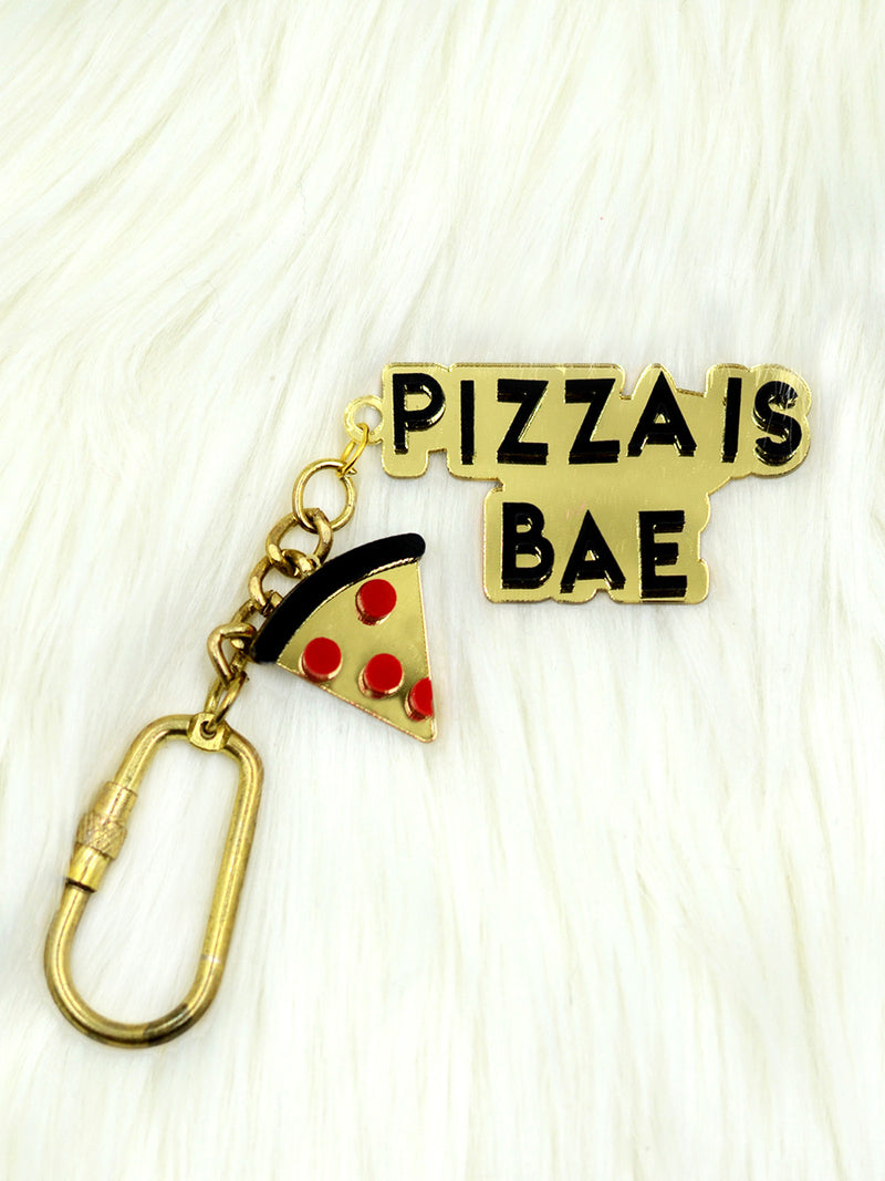Pizza is Bae Keychain Bagcharm, a unique handcrafted keychain bag charm from our designer collection of hand embroidered statement keychain and bag charms online.