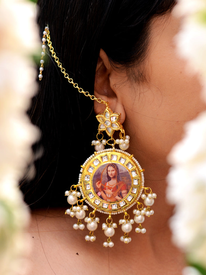 Monalisa Pearl Earrings, a contemporary handcrafted earring from our wedding collection of Kundan, gota patti, pearl earrings for women online.