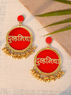 Dulhania Earrings, a quirky, unique, statement party-wear earrings from our designer collection of wedding themed earrings for women online.