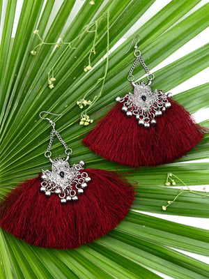 Silver Wine Earrings, a beautiful handmade hand embroidered earring with ghungroo and tassel from our designer collection of earrings for women online.