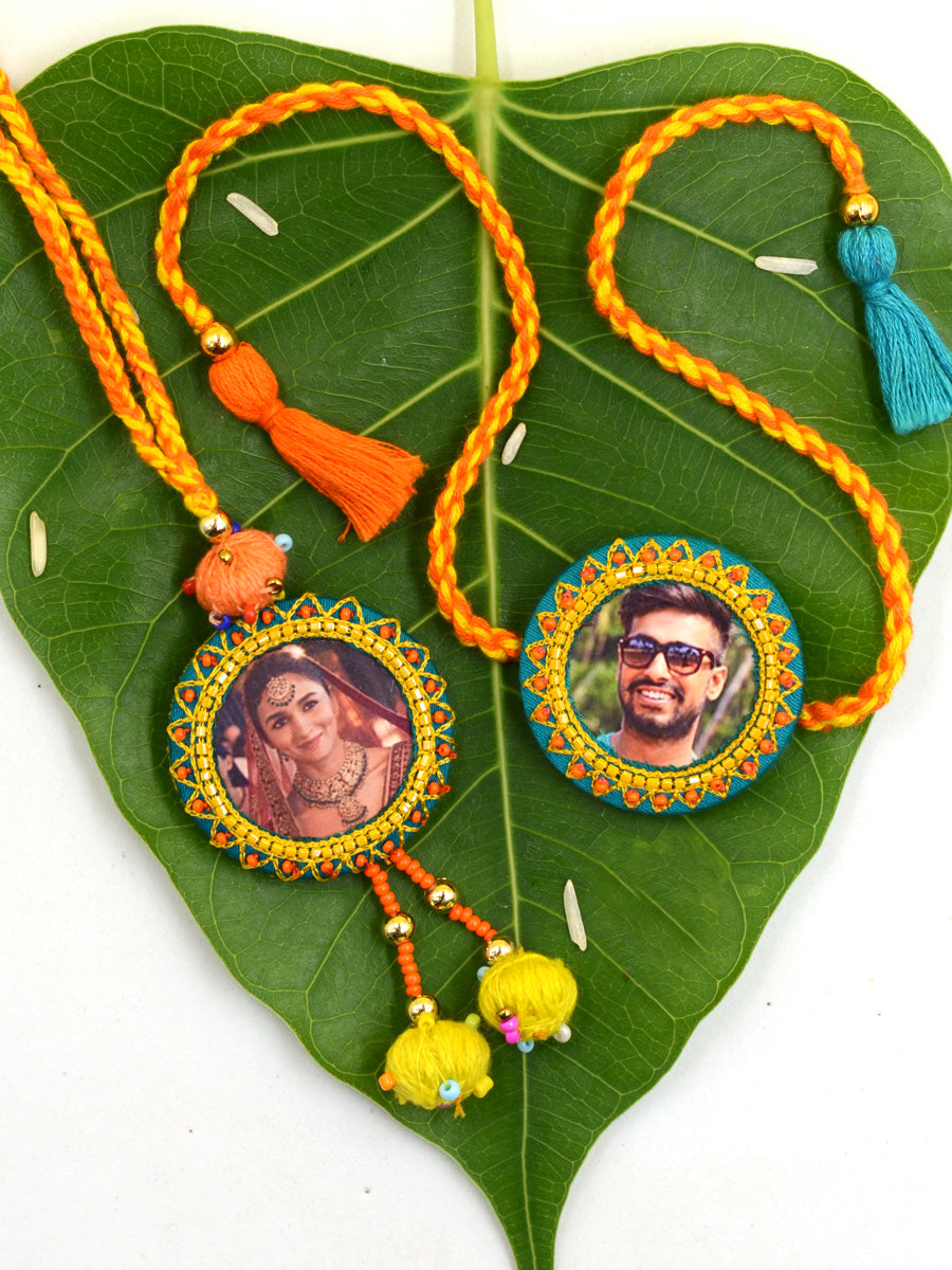 Customised Photo Rakhi + Lumba Set (Round)