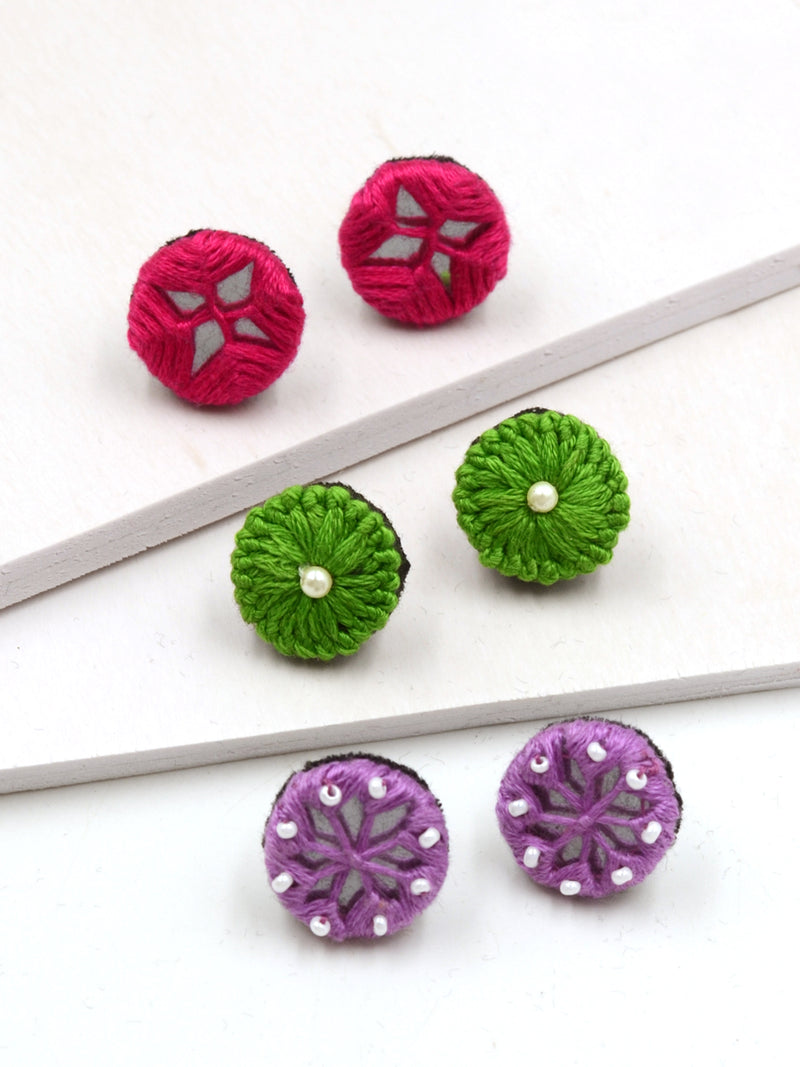 Arya Embroidered Stud Earrings Set 3