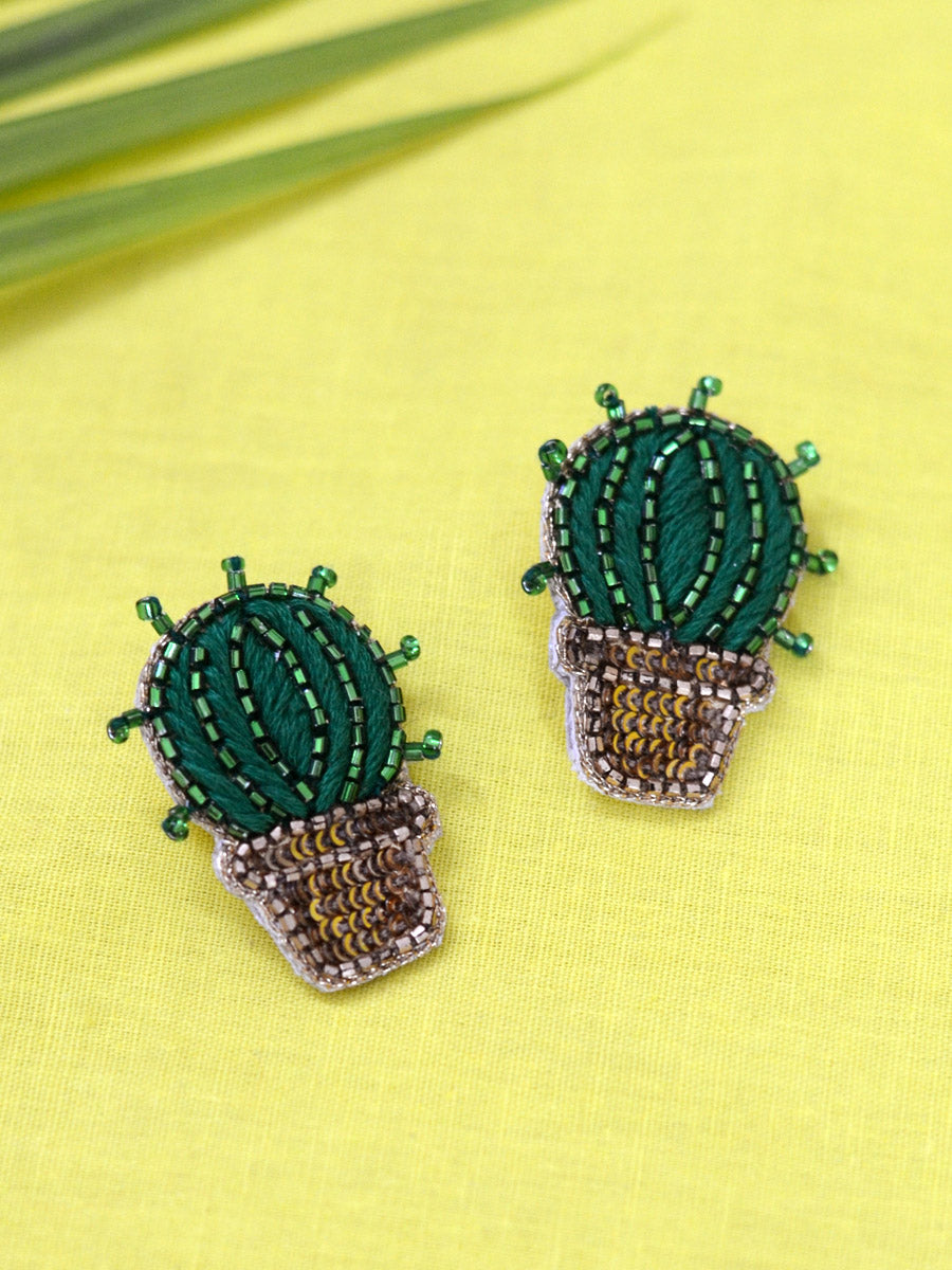 Cactus Sequin Earrings, a beautifully hand-embroidered earring from our designer collection of quirky, boho, Kundan and tassel earrings for women online.