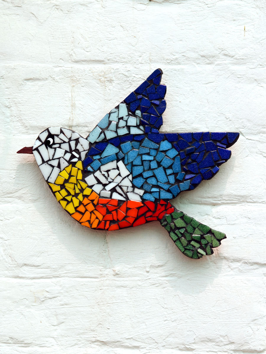 Mosaic Bird Wall Art, a unique wall decor handcrafted with upcycled tiles from our wide range of quirky, bohemian home decor products like wall hangings, wall art and more.