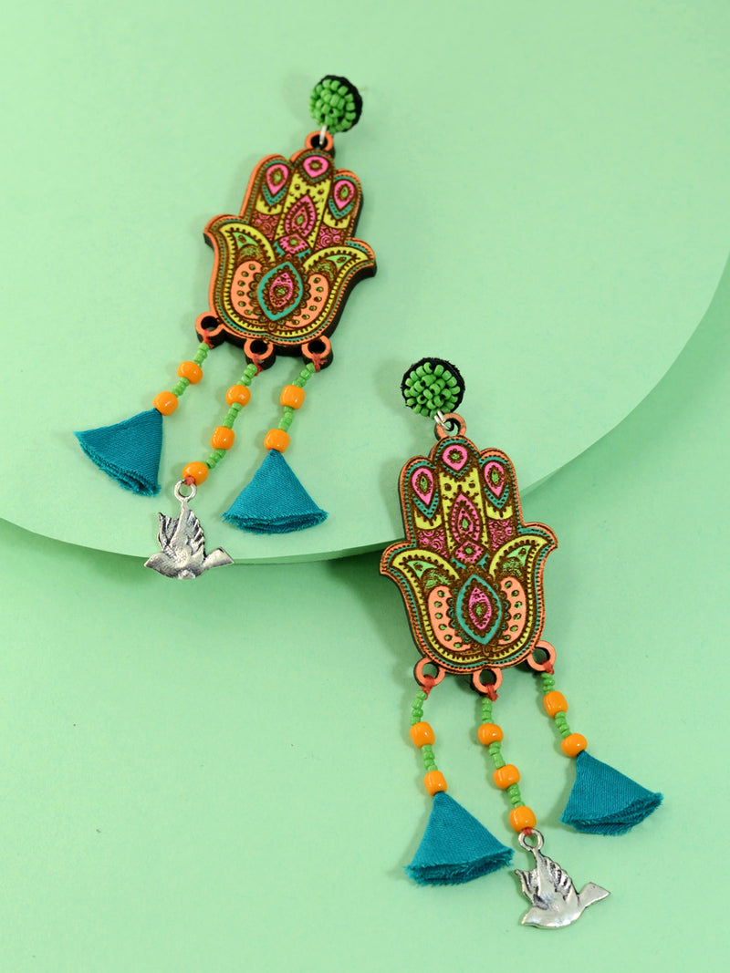 Fatima Handpainted Tassel Earrings, a beautiful handmade hand painted earring with tassel from our designer collection of earrings for women online.