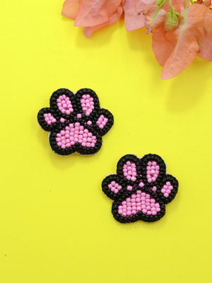 Paw Bead Earrings, a handcrafted earring with handmade beads from our designer hand embroidered collection of earrings for women online.