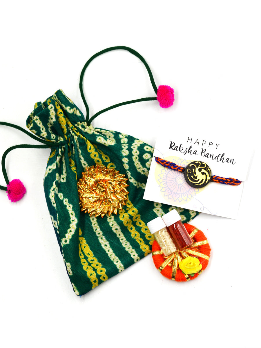 Targaryen (Game of Thrones) Rakhi Set (Roli Chawal + Decorative Pouch)